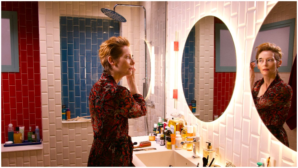 Swinton at mirror from The Human Voice