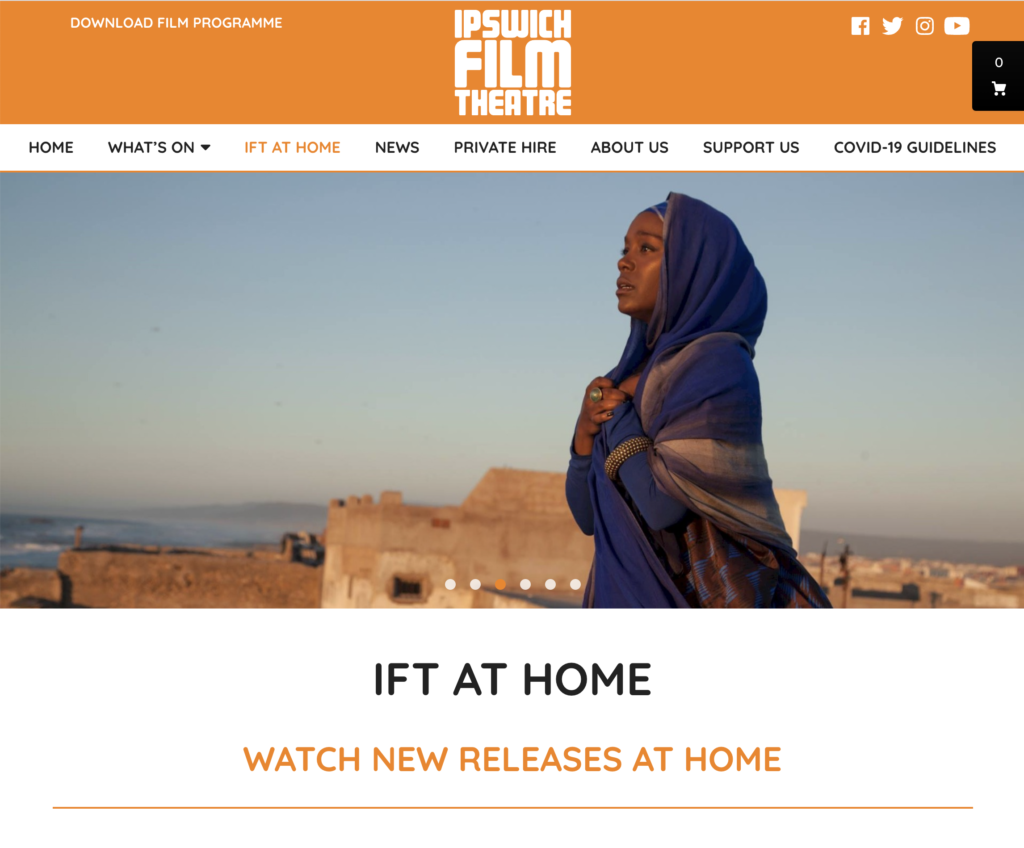 Image of webpage from Ipswich Film Theatre's at home selection