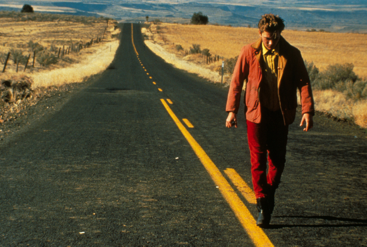 River Phoenix on the road in My Own Private Idaho